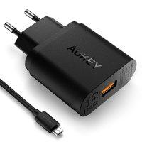 AUKEY-Quick-Charge-30-Cargador-de-Red-18W-Qualcomm-Certificado-para-iPhone-7-7-Plus-Samsung-Galaxy-Note-7-S6-Edge-Plus-Note-5-Note-4-Nexus-6-Samsung-con-Cable-Micro-USB-Negro-0