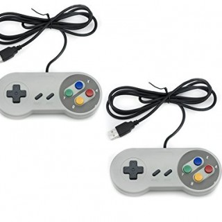 QUMOX-2x-Nintendo-juego-de-PC-GamePad-controlador-SFC-para-Super-Famicom-Windows-PC-USB-0