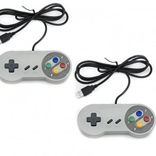 QUMOX-2x-Nintendo-juego-de-PC-GamePad-controlador-SFC-para-Super-Famicom-Windows-PC-USB-0