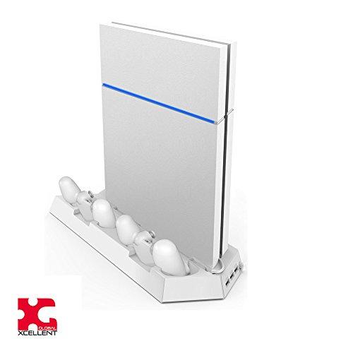 Xcellent-Global-Estacin-de-Carga-Vertical-con-Ventilador-Refrigerador-Puertos-de-Carga-Dual-y-Puertos-USB-HUB-para-Consola-PS4-PlayStation-4-y-Controladores-Mando-Analgico-0-2